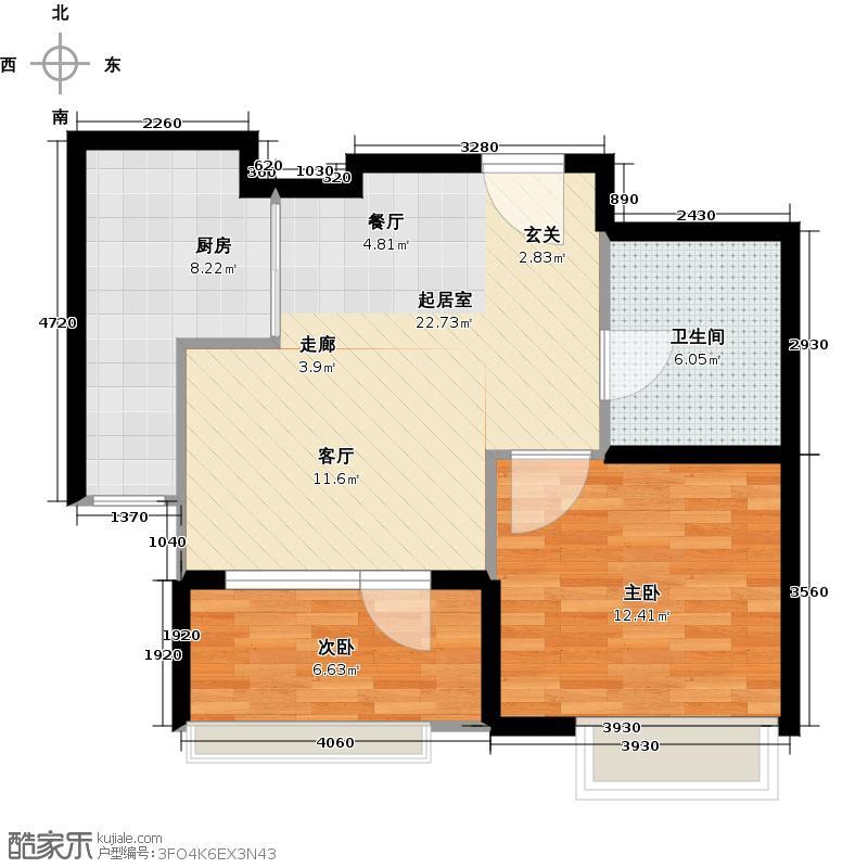颐和广场63.00㎡M户型2室2厅1卫