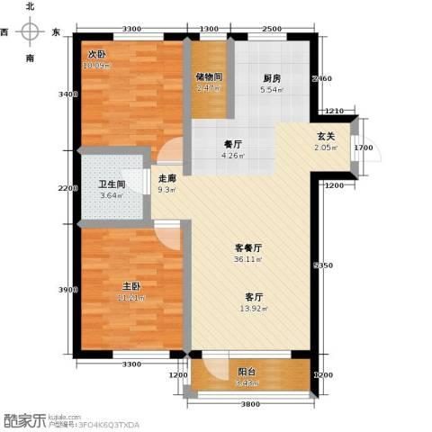 元基首府2室1厅1卫0厨93.00㎡户型图