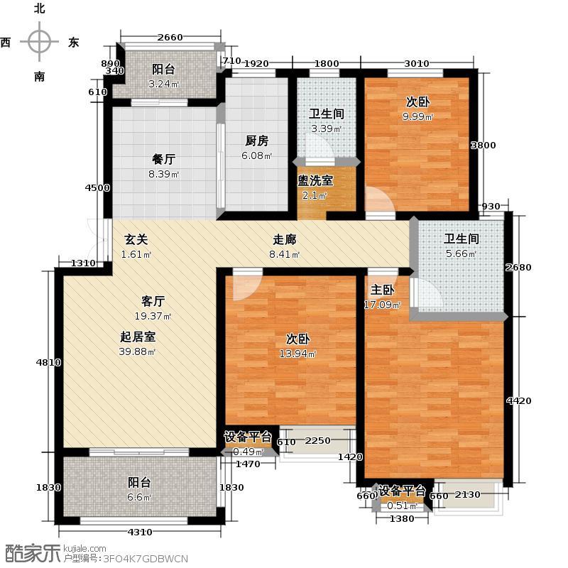 耀江花园・文鼎苑户型3室2卫1厨