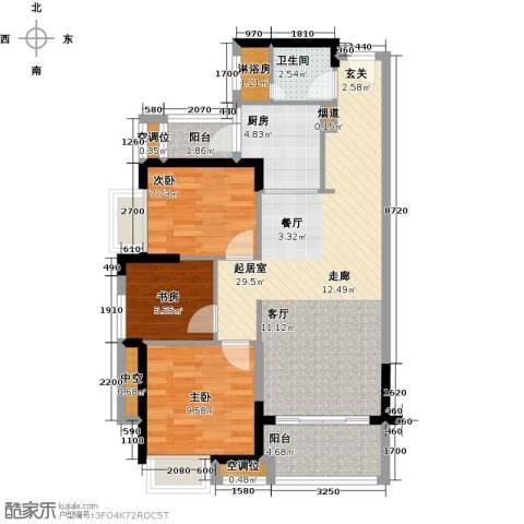 九江中航城3室0厅1卫1厨90.00㎡户型图
