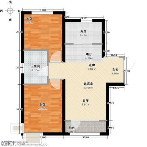 亚泰津澜2室0厅1卫1厨82.00㎡户型图