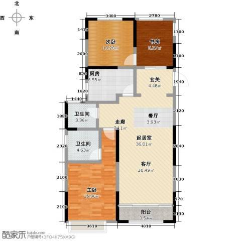 雅戈尔新东城3室0厅2卫1厨100.00㎡户型图