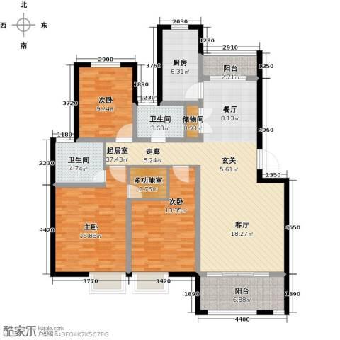 福泰御河湾3室0厅2卫1厨120.00㎡户型图