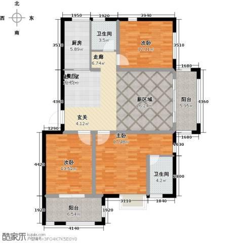 福泰御河湾3室0厅2卫1厨117.00㎡户型图