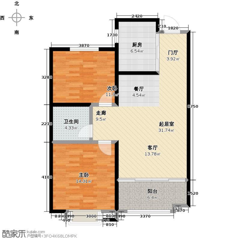 康太源尚誉85.00㎡A1户型2室2厅1卫