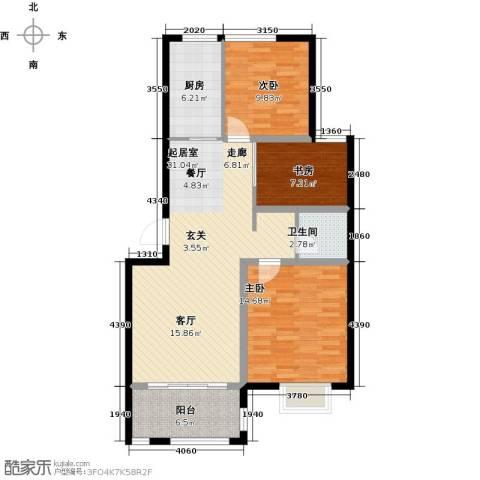 福泰御河湾3室0厅1卫1厨89.00㎡户型图