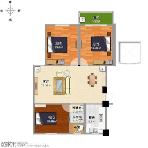 融康苑3室1厅1卫1厨110.00㎡户型图