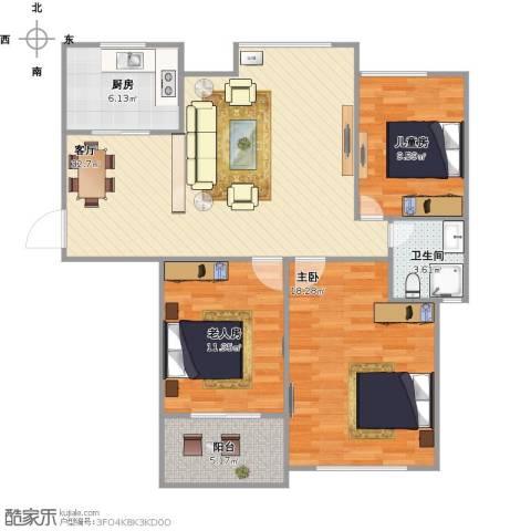 亚特蓝郡3室1厅1卫1厨117.00㎡户型图