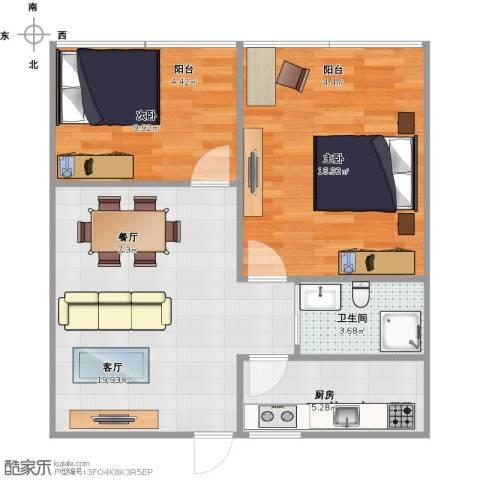 朝晖四区2室2厅1卫1厨75.00㎡户型图