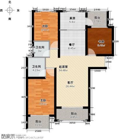 天水丽城二期3室0厅2卫1厨123.00㎡户型图