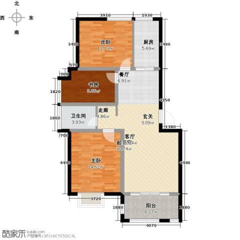 福泰御河湾3室0厅1卫1厨93.00㎡户型图