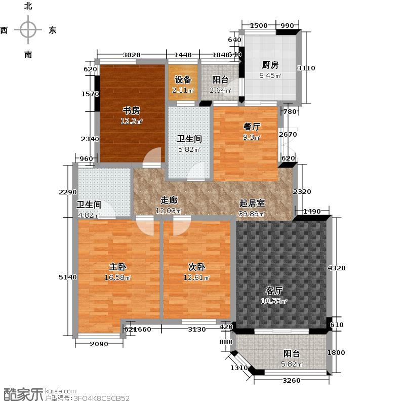 金色兰庭户型3室2卫1厨