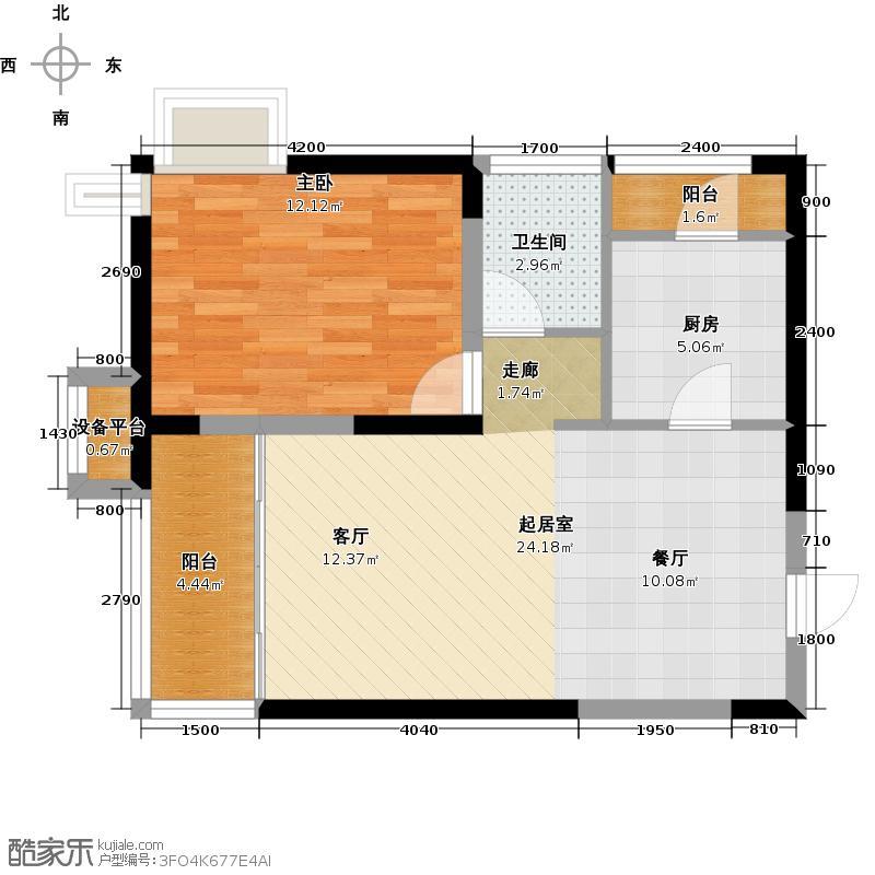 香邑国际69.38㎡二期紫东标准层A户型1室2厅1卫