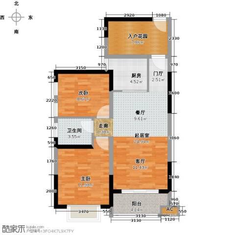 海景城2室0厅1卫1厨85.00㎡户型图