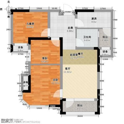 迁安碧桂园3室0厅1卫1厨86.00㎡户型图