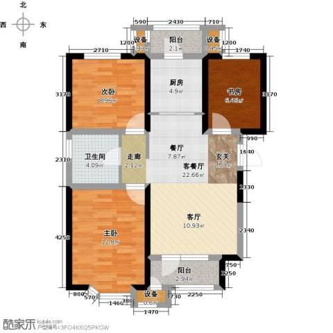意境兰庭3室1厅1卫1厨93.00㎡户型图