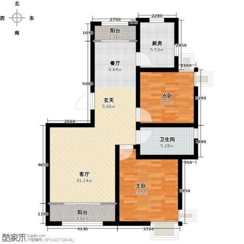 天房郦堂2室1厅1卫1厨97.00㎡户型图