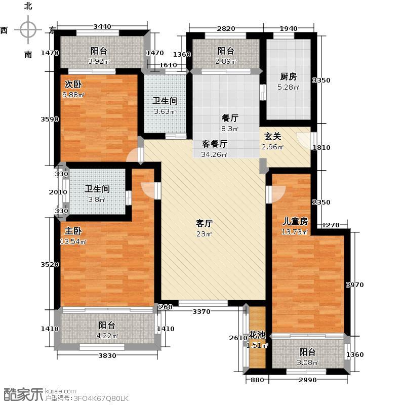 喜山128.90㎡54-55#5-8层_边户户型