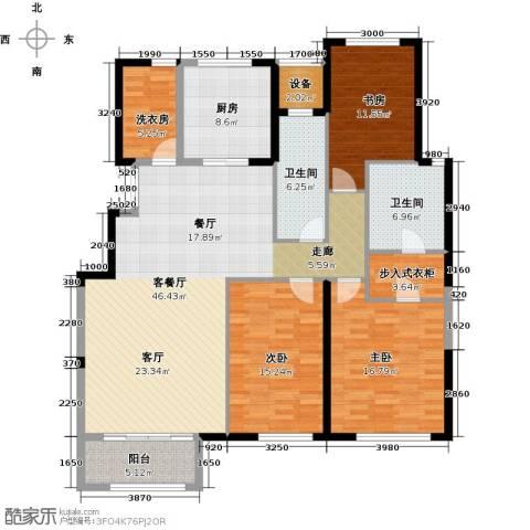 金地紫云庭3室1厅2卫1厨180.00㎡户型图