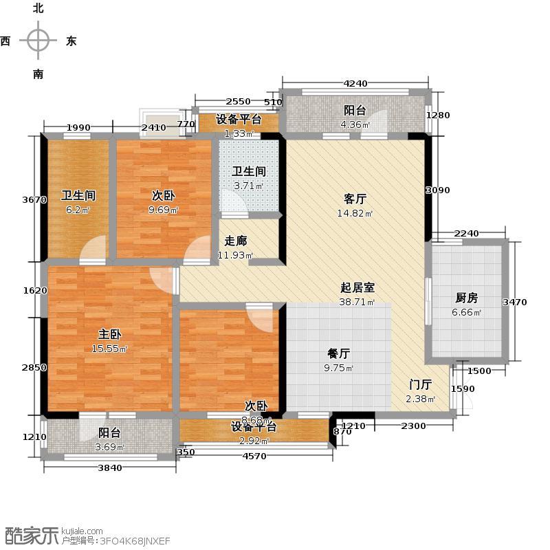 海林广场116.29㎡户型B户型3室2厅2卫