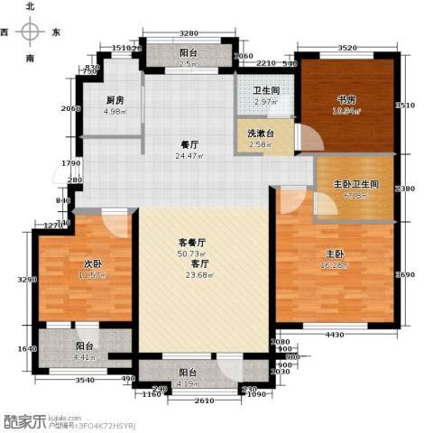 国盛南域枫景3室1厅1卫1厨130.00㎡户型图