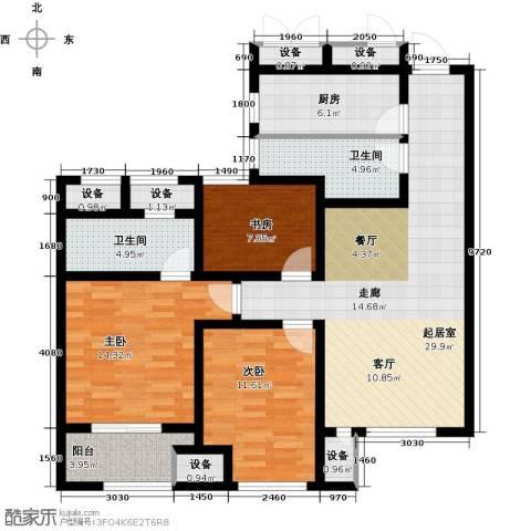 道成广场3室0厅2卫1厨108.00㎡户型图
