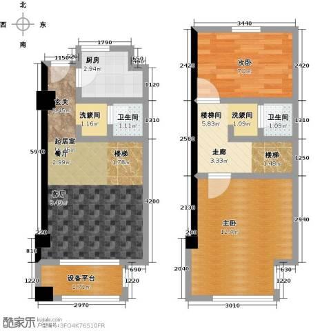 新创玉山广场2室0厅2卫1厨63.00㎡户型图