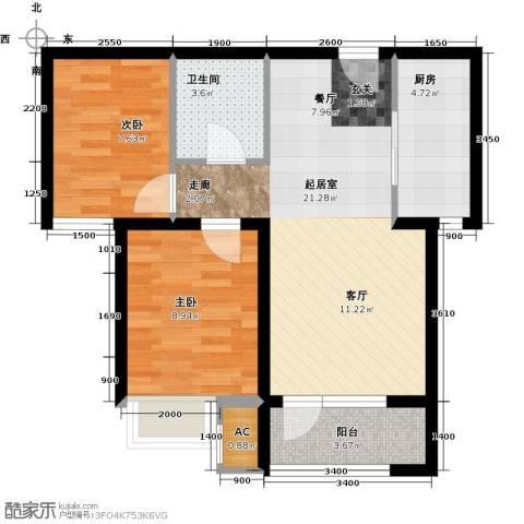 中铁秦皇半岛2室0厅1卫1厨68.00㎡户型图