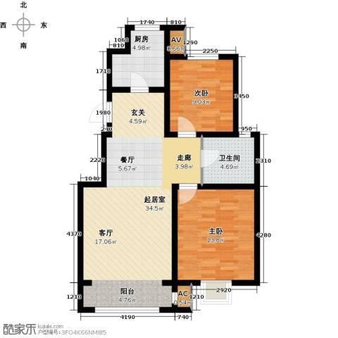 首创康桥郡2室0厅1卫1厨90.00㎡户型图