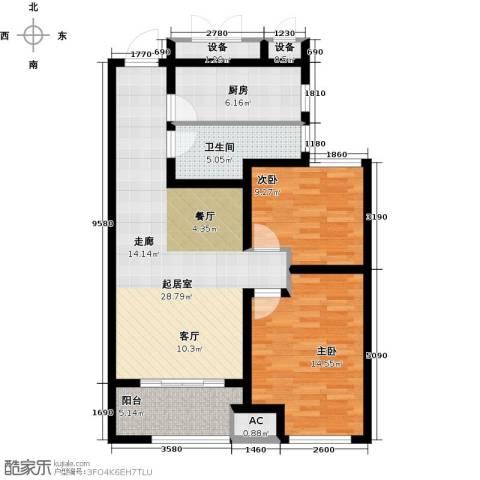 道成广场2室0厅1卫1厨86.00㎡户型图