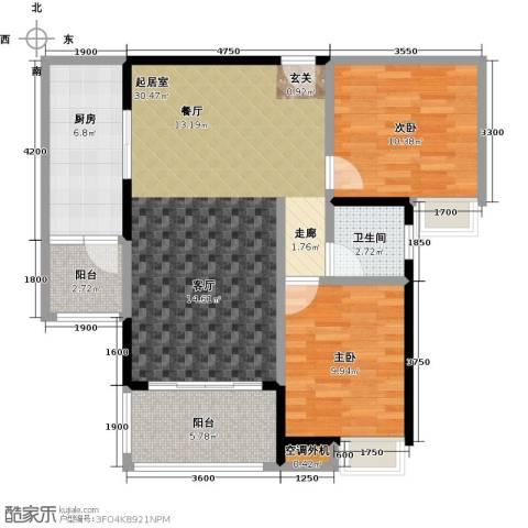 易景凯旋城2室0厅1卫1厨87.00㎡户型图