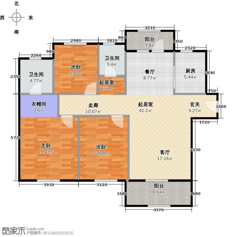 清华大溪地116.28㎡佛罗伦萨B1户型3室2厅2卫