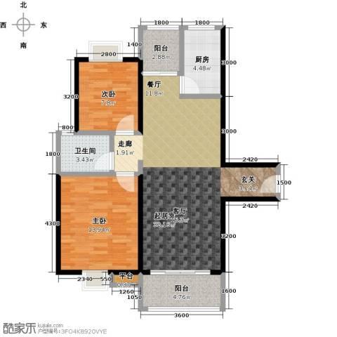 易景凯旋城2室0厅1卫1厨95.00㎡户型图