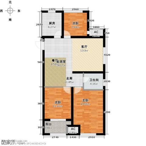 道成广场3室0厅1卫1厨104.00㎡户型图