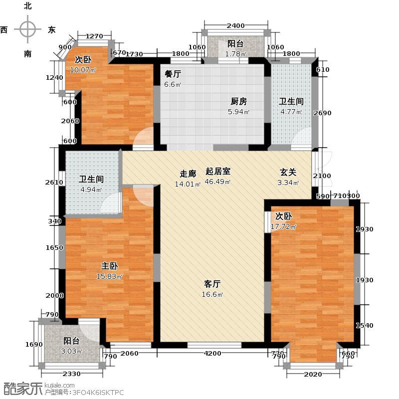 潍京153.68㎡潍京C户型 三室两厅两卫户型3室2厅2卫