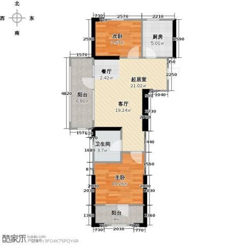 中央学府2室0厅1卫1厨85.00㎡户型图