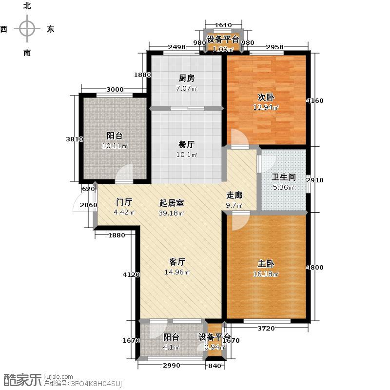 大运河孔雀城110.00㎡D1户型 二室二厅一卫户型2室2厅1卫