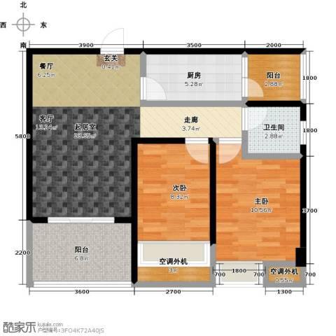 清泉城市广场2室0厅1卫1厨92.00㎡户型图