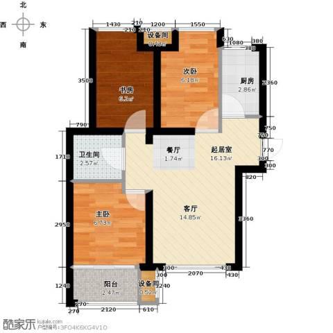 荣盛・香缇澜山3室0厅1卫1厨88.00㎡户型图