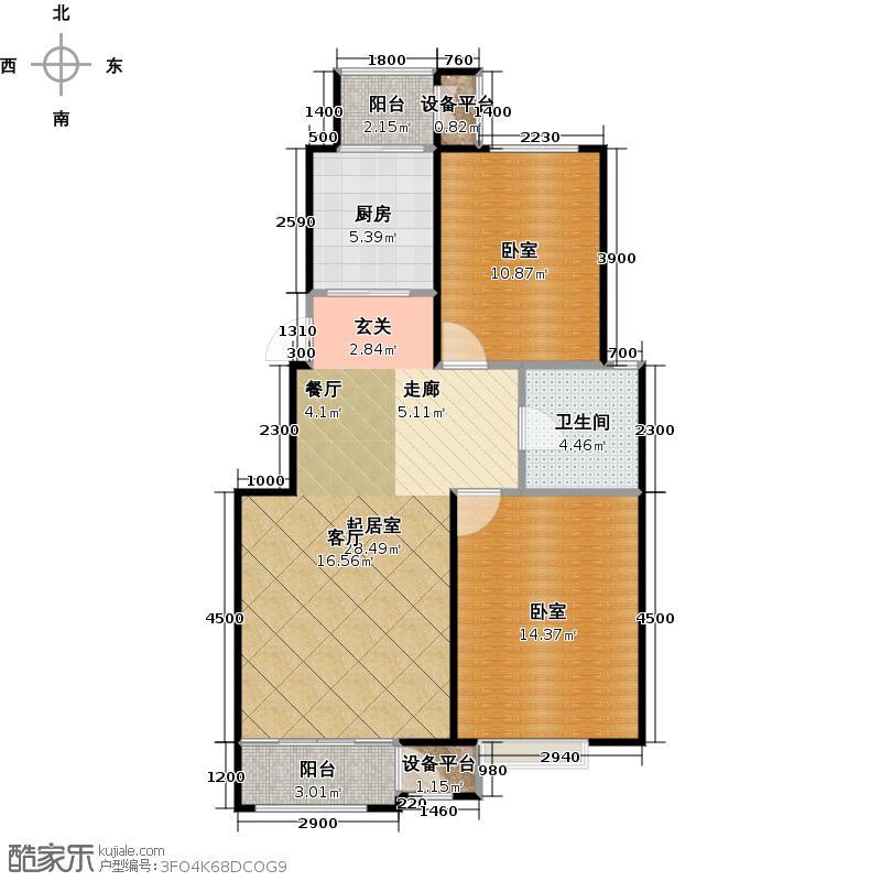 澜湾半岛91.81㎡澜湾半岛一期1-7号楼标准层E户型2室2厅1卫