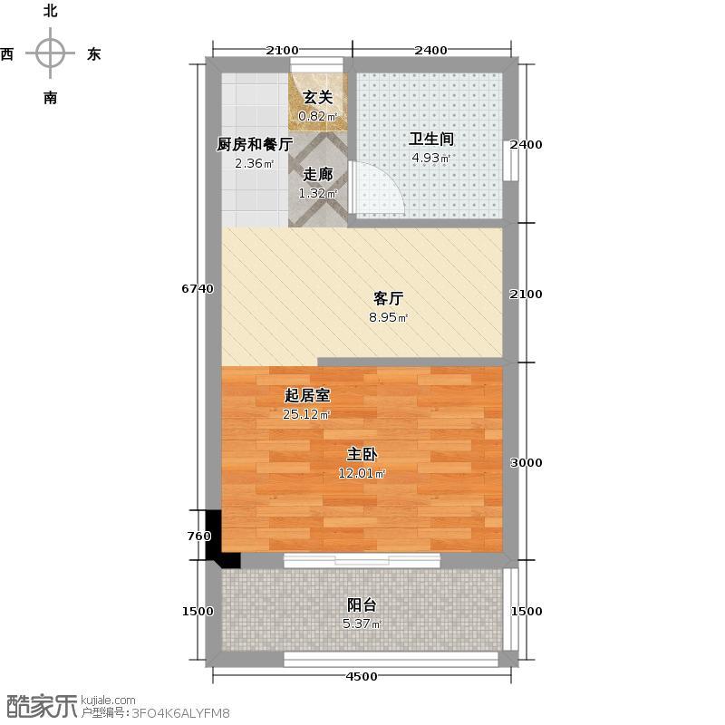 嘉信时代广场43.00㎡D户型1室1厅1卫