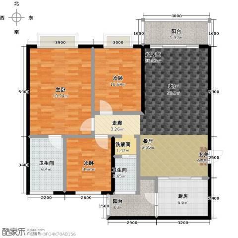 世纪苑3室0厅2卫1厨123.00㎡户型图