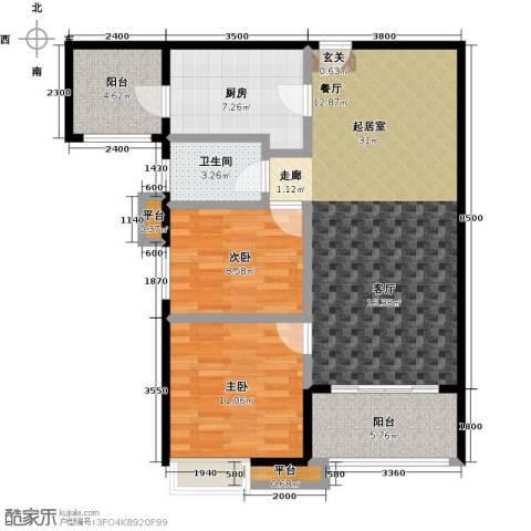 易景凯旋城2室0厅1卫1厨89.00㎡户型图