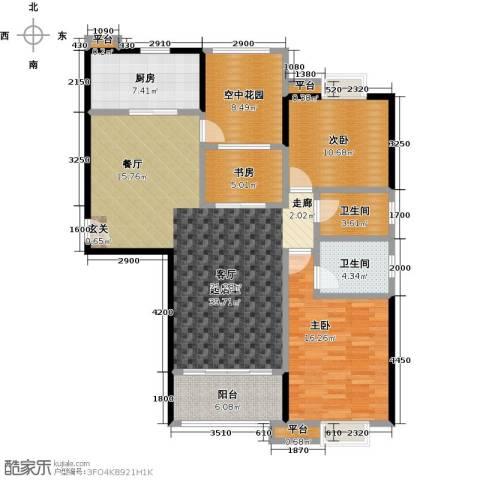 易景凯旋城3室0厅2卫1厨127.00㎡户型图