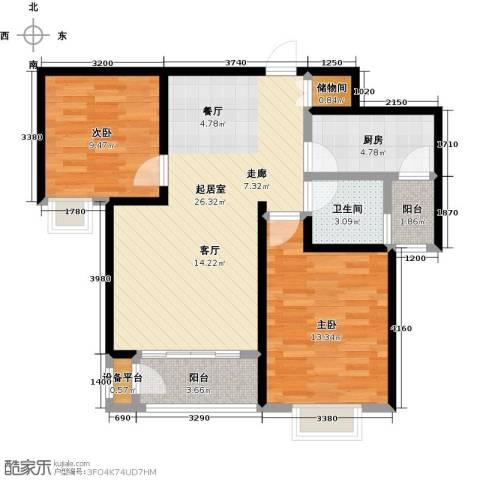丽晶名邸2室0厅1卫1厨87.00㎡户型图