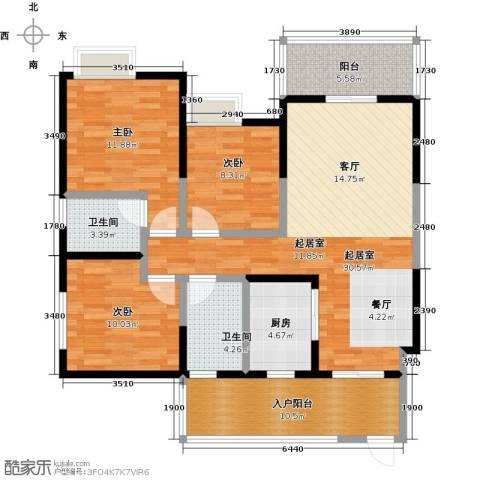 西城国际3室0厅2卫1厨128.00㎡户型图