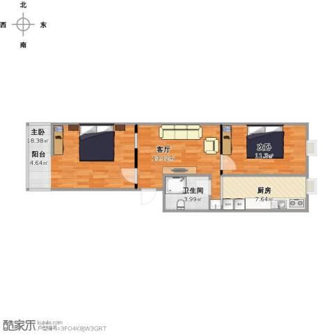电气化宿舍2室1厅1卫1厨74.00㎡户型图