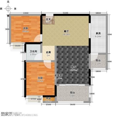 易景凯旋城2室0厅1卫1厨88.00㎡户型图
