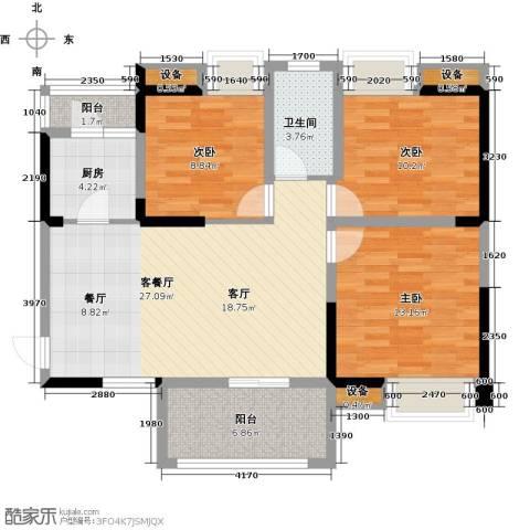 清江山水3室1厅1卫1厨108.00㎡户型图