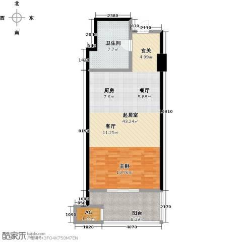蓝海国际公寓1卫0厨60.74㎡户型图